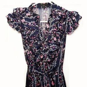💟 2/$10 + 3/$15 ● Navy floral print ruffle dress